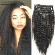 Cici Collection Clip In Human Hair Extensions Brazilian Virgin African American Kinky Straight Clip in Hair Extensions Natural Clip Ins For Black Women