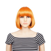 Veracicky Charming Wigs New Fashion Orange Colour Women Party Sexy Full Hair Wig Human Hair Natural Looking Wigs+A Free Wig Cap
