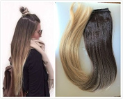 60cm 3/4 Head One Piece Ombre Dip Dyed Straight Clip-in Hair Extensions (Dark brown to sandy blonde) DL
