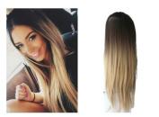 60cm Half Head Wig Long Curly Wavy OMBRE DIP DYE 3/4 Weave Brown Blonde