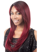 Long Natural Women Wigs Gradient Colour From Black to Winered Synthetic Wig