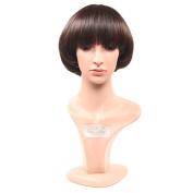 Secretgirl Brown Cosplay Short Bob Wig Brown Wig With Bangs for Women Heat Resistant