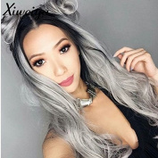 Xiweiya Black Root Ombre Gunmetal Grey Lace Front Wig Body Wave Synthetic Hair Wigs Heat Resistant For Women