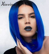 Xiweiya Short Dark Root Straight Bob Lace Front Wig Ombre Blue 2 Tones Synthetic Hair Wigs Heat Resistant For Women