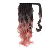 Deercon Womens Colour Gradient Hook and loop Wigs Long Curly Hair Fake Hair