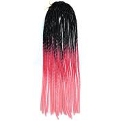 Deercon Womens Black Wig Twist Braid African Pigtail Hollow Colourful Braid Wig