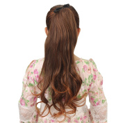 Deercon Womens Wigs Bleached Long Curly Hair Ponytail