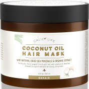 CalilyLife Organic Coconut Oil Hair Mask with Natural Dead Sea Minerals, 500ml– Promotes Healing and Natural Hair Growth - Enriches and Repairs Damaged Hair, Hydrates, Softens, Shines & Strengthens