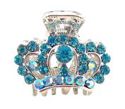 Crystal Tiara Style Hair Clip - Aqua Blue