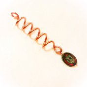 Copper Coil Dread Lock Bead with Red Starburst Cech Glass Bead