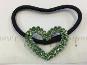 Rhinestone Heart Design Hair Ponytail Holder Green Colour