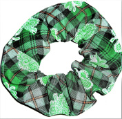 St Patricks Day Plaid Shamrocks Cotton Fabric Hair Scrunchie Handmade by Scrunchies by Sherry