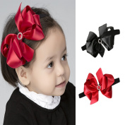 2Pcs Big Bowknot Baby Kids HeadbandsHair Bow Band Hair Accessories Two Colours