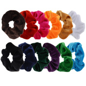 Mudder 12 Pack Large Hair Scrunchies Velvet Scrunchy Bobbles Elastic Hair Bands, 12 Colours