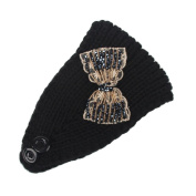 Hunputa Womens Warm Hat Skiing Cap Knitted Sequins Bow Empty Skull Beanie Headband