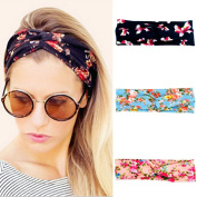 Womens Lady HairBands, Fahion Strong Stretchy Flower Printed Turban Head Wrap Band with Soft Twisted Hair Band,