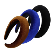 QtGirl 3 Pcs Alice Headbands 4.1cm Width 2cm Thick Black Brown Royal Hair Bands