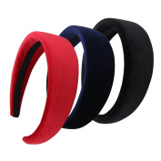 QtGirl 3 Pc Girls Alice Headbands 4.1cm Width 1cm Thick Black Red Navy Hair Band