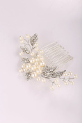 Lovelyshop sliver pearl small hair side comb with pearl and rhinestones for wedding, anniversary, valentines day and special occasions