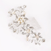 Lovelyshop sliver twig hair side comb with pearl and rhinestones for wedding, anniversary, valentines day and special occasions