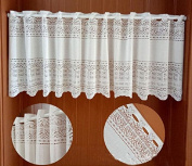 European Style White Floral Pattern Polyester Lace Curtain Valance for Kitchen Bath Bedroom Living Room 150cm x 43cm