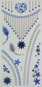 GGSELL Blue and silver and black Metallic Temporary tattoos jewellery chain, feathers and stars