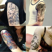 Dalin 4 Sheets Temporary Tattoo, Budda, Dragon, Koi Fish, Death