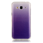 Moonmini Gradient Colour Sparkling Glitter Ultra Slim Fit Soft TPU Phone Back Case Cover for  for  for  for  for Samsung     Galaxy J3 (2015) - Purple