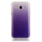 Moonmini Gradient Colour Sparkling Glitter Ultra Slim Fit Soft TPU Phone Back Case Cover for Samsung Galaxy J3 (2015) - Purple