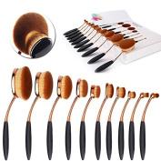NESTLING 2016 Newest 10PCs Makeup Brush Set Soft Oval Toothbrush Foundation Eyeliner Blush Contour Brushes for Powder Cream Concealer Cosmetic Brush Set Rose Gold