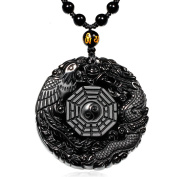 ZTAN Natural Black Obsidian Pendant Necklace Caved Dragon and Phoenix Pattern with Extend Bead Chain for Men or Women