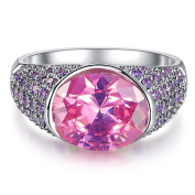 Narica Women's Elegant 9mmx11mm Oval Cut Pink Topaz CZ Engagement Ring Band