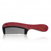 Static Handmade Premium Quality Natural Black Ox Horn & Purple Heart Wood Comb with Natural Wood Aromatic Smell