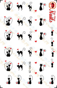 Valentine's Day Black Cat with Heart Nail Art Decals. Clear Waterslide Nail Decals (Tattoo) Set of 28 by One Stop Nails BC001-28