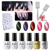 Gel Polish, 3D Cat Eye Soak Off UV LED Gel Polish Nail Art5 Colours + Base & Top Coat + Free Magnet Stick Mancure Starter Kit C007 Belen