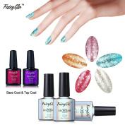 FairyGlo 5 Colours Platinum Gel Nail Polish + Base Top Coat Soak Off UV LED Manicure Pro Nail Art Beauty Wearing Collection DIY Gift Set New 10ml 58019