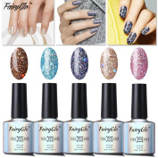 FairyGlo Well-Picked 5 Colour Combo Glitter Gel Nail Polish UV LED Soak Off Shimmer Manicure Stareter Kit Mirror Finish Gorgeous Pro Nail Art Collection Gift Set 10ml 005