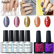 FairyGlo Well-Picked 5 Colour Combo Glitter UV LED Gel Nail Polish + Base Top Coat Soak Off Shimmer Manicure Gorgeous Elegant Beauty Pro Nail Art Collection Perfect Gift Set 10ml 015