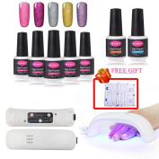 CLAVUZ 5pcs Gel Nail Polish Kit Soak Off UV LED Neon Bling Nail Lacquer 9W Nail Lamp 30S 60S 90S Timer with Top Base Coat Nail Art Manicure Pedicure 10pcs Remover Wipes Gift Set