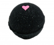 Black Bath Bomb w/ Pink Heart 170ml Aloe Vera Kaolin Clay scented w/ Little Black Dress