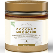 CalilyLife Organic Coconut Milk Scrub with Dead Sea Minerals, 710ml – Deep Moisturising and Nourishment - Exfoliates, Clears Eczema, Removes Wrinkles, Gets Skin Vibrant and Revitalised