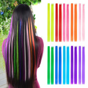 10pcs Coloured Clip in Hair Extensions 60cm Straight Fashion Hairpieces for Party Highlights Multi-Colour