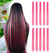 10pcs Coloured Clip in Hair Extensions 60cm Straight Fashion Hairpieces for Party Highlights Pink Colour