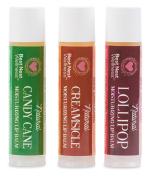 Best Nest Organic Lip Balm Set Trio, 100% Natural & 95% Organic Moisturising Lip Balm, Beeswax, 3 Flavours