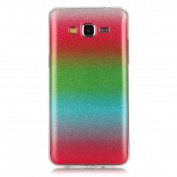 Moonmini Gradient Colour Sparkling Glitter Ultra Slim Fit Soft TPU Phone Back Case Cover for  for  for Samsung   Galaxy Grand Prime G530 - Red + Green + Sky Blue