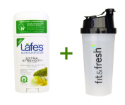 Lafe's Natural Body Care, Odour Protection Invisible Solid, Coriander Oil & Tea Tree, 70ml (63 g), (3 PACK), Vitaminder, Power Shaker Bottle, 590ml Bottle