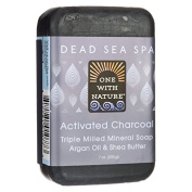 One With Nature Dead Sea Spa Activated Charcoal Mineral Soap 210ml (200 grammes) Bar