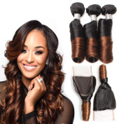 Allove Hair 8A Brazilian 2 Tone Ombre Colour Spring Curl Hair 3 Bundles with Closure(12 14 16 +12) 4X4 Ombre Free Part Lace Closure with Virgin Remy Spring Curl Weave Hair Bundles Extensions