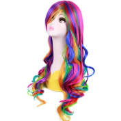 Wigle 28 Inches 70cm Long Gothic Lolita Rainbow Rock Ombre Spring Bouquet Long Wavy Girls Cosplay Party Wig with Free Wig Cap