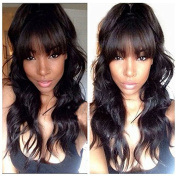 Glueless Virgin Brazilian Wavy Hair Natural Lace Front Human Hair Wig with Bangs #1B Hair Colour